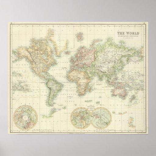 World On Mercator's Projection Print