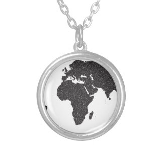 World Outline Dots Silver Plated Necklace