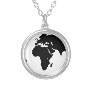 World Outline Silver Plated Necklace