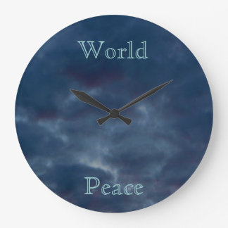 World Peace Blue Clouds Large Clock