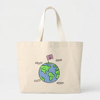 world peace cartoon illustration bag