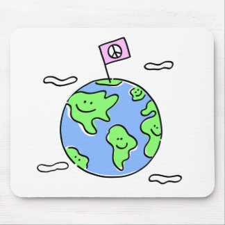 world peace cartoon illustration mouse pad