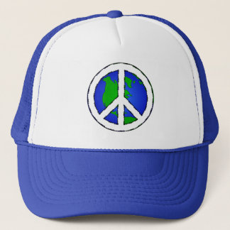 World Peace Earth and Peace Sign Hat