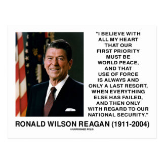 World Peace Force Last Resort Security Reagan Postcard