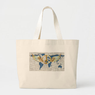 World peace large tote bag