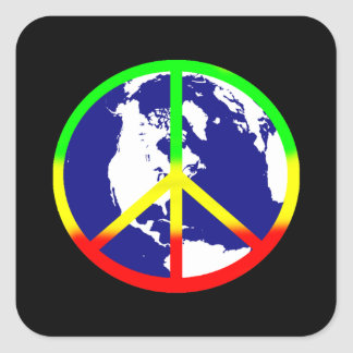 World Peace On Black Square Sticker