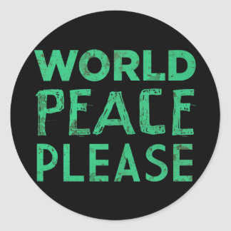 World Peace Please Classic Round Sticker