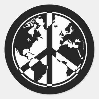 World Peace Sticker - White on Black