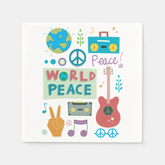 World Peace Symbols Paper Napkins