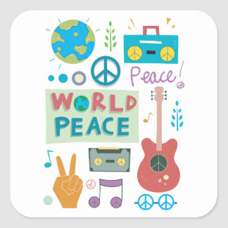 World Peace Symbols Stickers