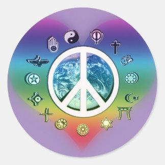 World Peace with Religious Symbols Classic Round Sticker