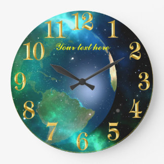 World planet space view with golden numbers large clock