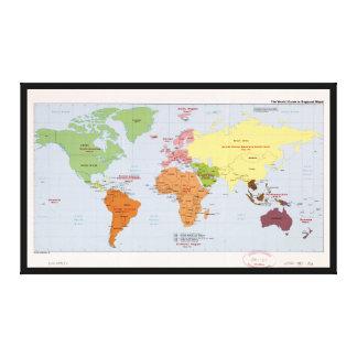 World Political Regional Map (1985) Canvas Print