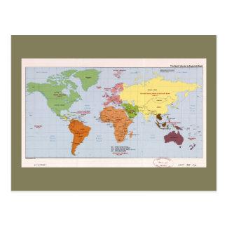 World Political Regional Map (1985) Postcard
