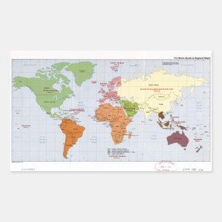 World Political Regional Map (1985) Rectangular Sticker