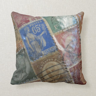 World Postage Stamp Pillow