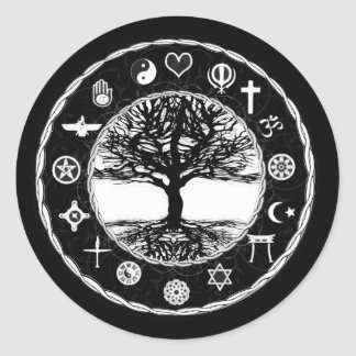 World Religions Peace Tree of Life Round Sticker