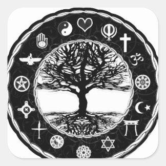 World Religions Peace Tree of Life Square Sticker