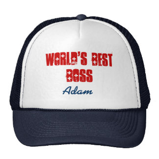 World s Best Boss Custom Name Navy Blue Red Trucker Hat