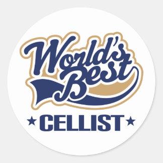 World s Best Cellist Music Gift Round Sticker