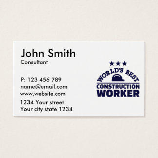 World's best construction worker business card