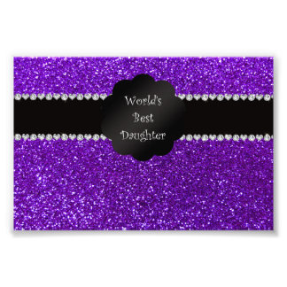 World s best daughter indigo purple glitter photo art