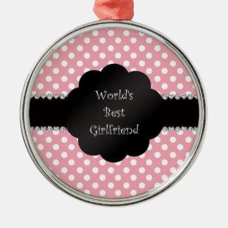 World s best girlfriend pink polka dots christmas ornament