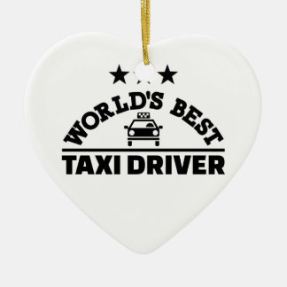 World's best taxi driver ceramic heart decoration