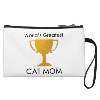 World s Greatest Cat Mom Wristlet Clutches