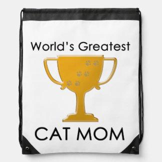 World s Greatest Cat Mom Drawstring Backpack