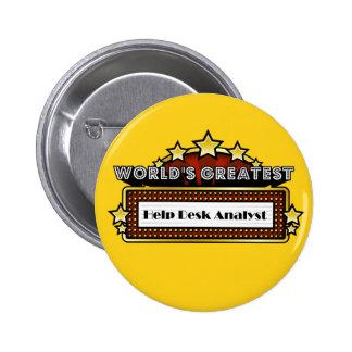 World s Greatest Help Desk Analyst Pinback Buttons