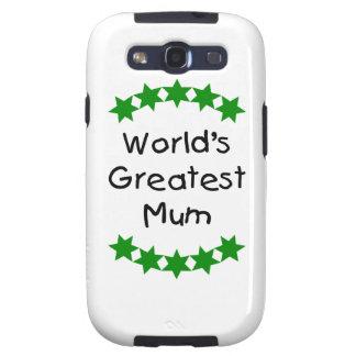World s Greatest Mum green stars Galaxy S3 Cases