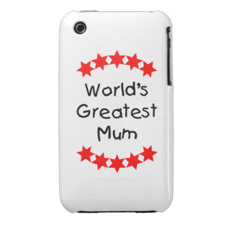 World s Greatest Mum red stars iPhone 3 Case-Mate Cases
