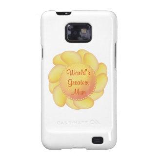 World s Greatest Mum yellow flower Samsung Galaxy Cases