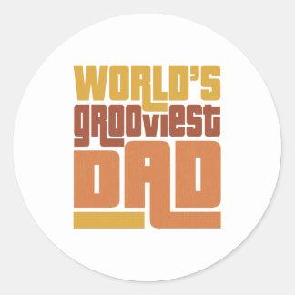 World s Grooviest Dad Retro Funny Round Stickers