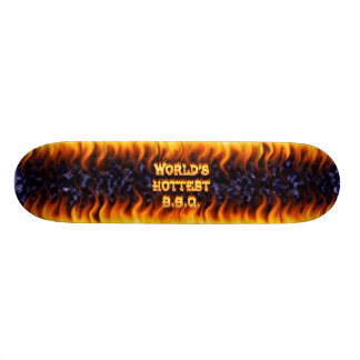World s hottest BBQ fire and flames blue marble Skateboards