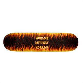 World s Hottest Korean fire and flames red marble Skateboards