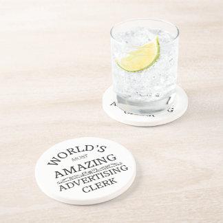 World s most amazing advertising clerk drink coaster