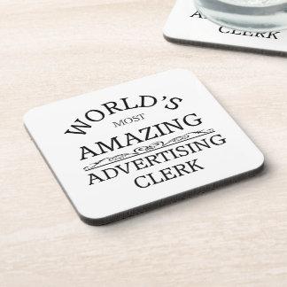 World s most amazing advertising clerk coasters