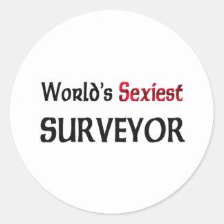 World s Sexiest Surveyor Round Stickers