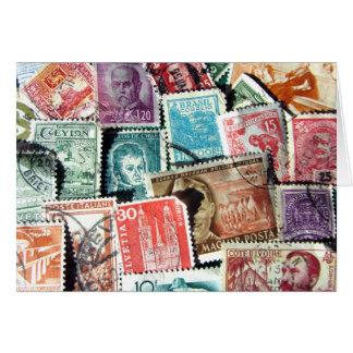 World Stamp Collage Card