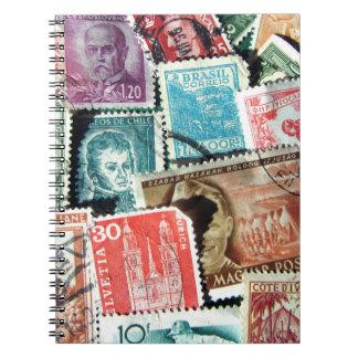 World Stamp Collage Notebook