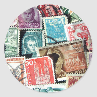 World Stamp Collage Stickers