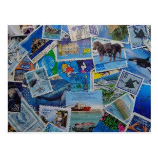 World Stamps (blue) Postcard