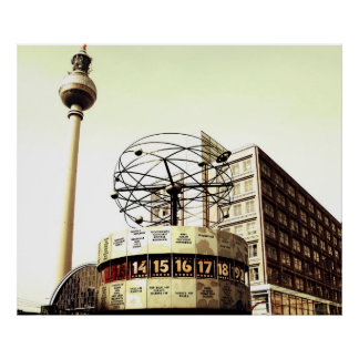 World time clock TV tower Berlin Poster