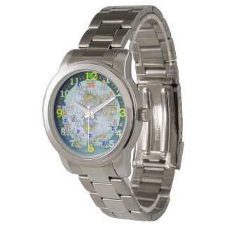World Time Zones Cities Travel Wrist Watch