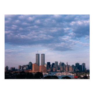 world trade center blue sky postcard