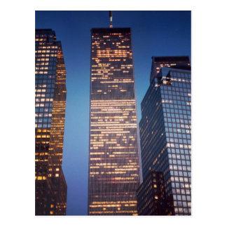 world trade center deep blue sky postcard
