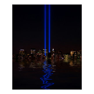 World Trade Center Tribute in Light at Night Poster