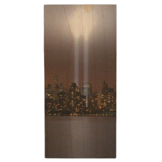 World trade center tribute in light in New York. Wood USB 2.0 Flash Drive